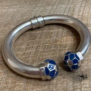 Jewelry - Vintage Sterling Blue Enamel Hinged Bracelet